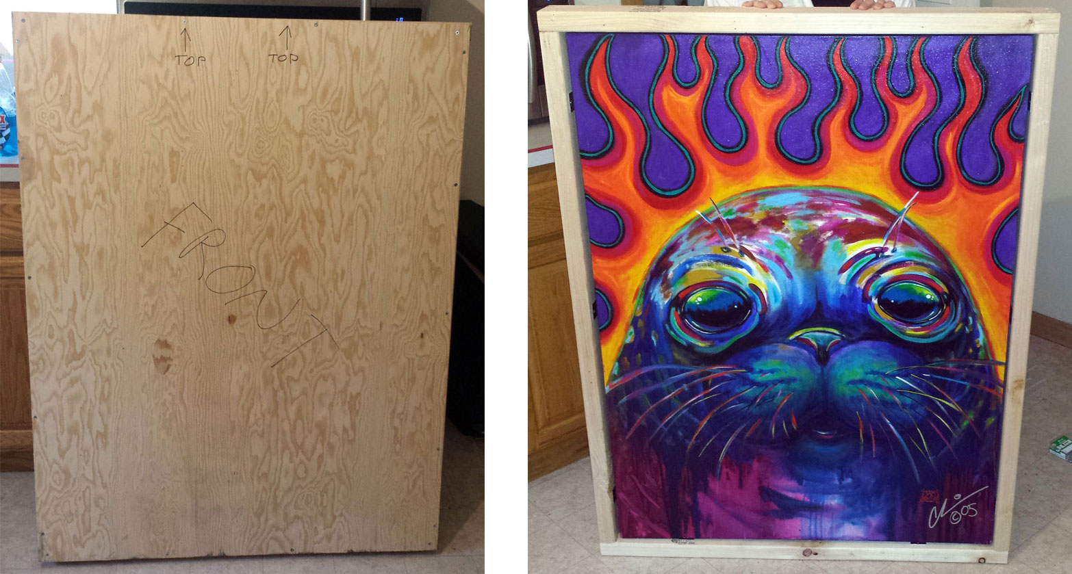 Flaming Seal Painting Artwork Package Wood Crate Ship
